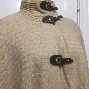 Jones New York Wool Poncho with leather clasps